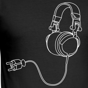 Zwart Headphone Heren t-shirts - slim fit T-shirt