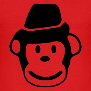 Röd monkey, emo, rock T-shirts (kort ärm) - Slim Fit T-shirt herr