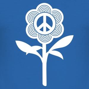 Royalblau peace flower T-Shirts (Kurzarm) - Männer Slim Fit T-Shirt