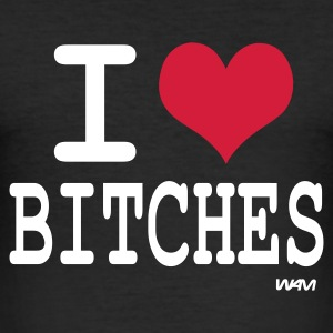 Noir i love bitches by wam T-shirts - Tee shirt près du corps Homme