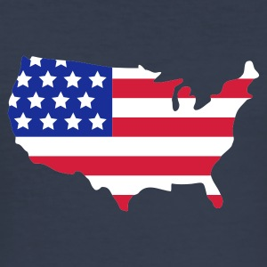 Mörk marinblå Stars and Stripes of USA, United States of America T-shirts - Slim Fit T-shirt herr