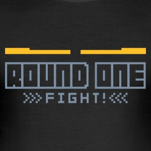 Schwarz Round1: Fight! T-Shirts - Männer Slim Fit T-Shirt