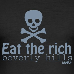 Noir eat the rich by wam T-shirts - Tee shirt près du corps Homme