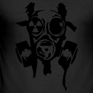Gul bad gasmask radioactiv T-skjorter - Slim Fit T-skjorte for menn