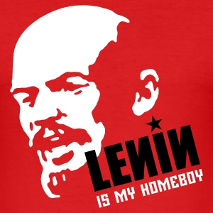 Red Lenin is my homeboy (place in white on red) Men's Tees - Men's Slim Fit T-Shirt