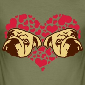 Olive bulldog_love_v1_3c Men's Tees - Men's Slim Fit T-Shirt