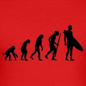 Red Evolution of Surfing Men's Tees - Men's Slim Fit T-Shirt