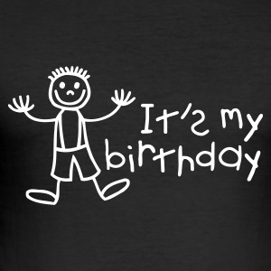 Black It's my birthday - Boy Men's Tees - Men's Slim Fit T-Shirt