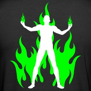 Svart rocking devil - rockender teufel - flammen flames T-shirts - Slim Fit T-shirt herr