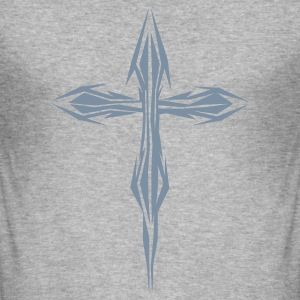 Gråmelerad metal cross T-shirts - Slim Fit T-shirt herr