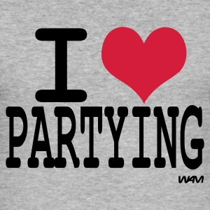 Grau meliert i love partying by wam T-Shirts - Männer Slim Fit T-Shirt