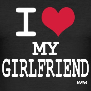 Zwart i love my girlfriend by wam T-shirts - slim fit T-shirt