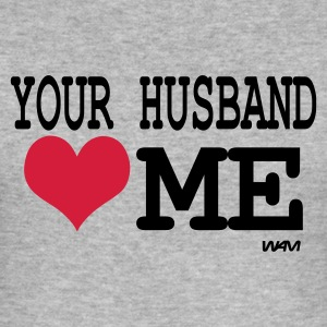 Grijs gespikkeld your husband loves me by wam T-shirts - slim fit T-shirt