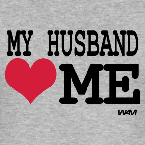 Grijs gespikkeld my husband loves me by wam T-shirts - slim fit T-shirt
