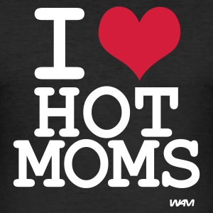 Svart i love hot moms by wam T-shirts - Slim Fit T-shirt herr