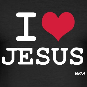 Svart i love jesus by wam T-skjorter - Slim Fit T-skjorte for menn