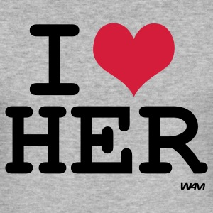 Grijs gespikkeld i love her by wam T-shirts - slim fit T-shirt