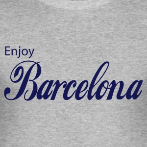 Gråmelerad barcelona T-shirts - Slim Fit T-shirt herr