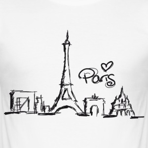 Weiß paris T-Shirts - Männer Slim Fit T-Shirt