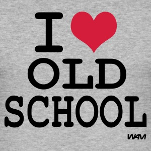Gris chiné i love old school by wam T-shirts - Tee shirt près du corps Homme