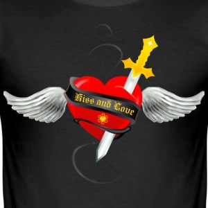 Noir angel heart kiss and love T-shirts - Tee shirt près du corps Homme