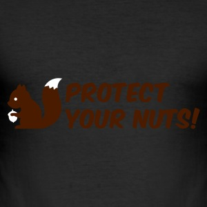 æggeblomme gul protect your nuts T-shirts - Herre Slim Fit T-Shirt