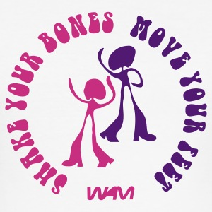 Bianco shake your bones move your feet by wam T-shirt - Maglietta aderente da uomo