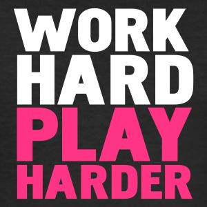 Schwarz work hard play harder T-Shirts - Männer Slim Fit T-Shirt