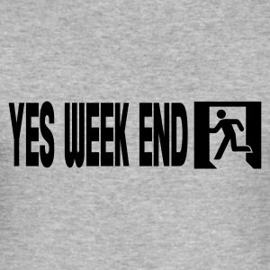 Gris chiné yes week end T-shirts - Tee shirt près du corps Homme