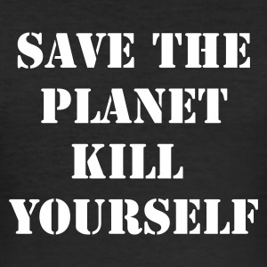 Svart save the planet kill yourself T-shirts - Slim Fit T-shirt herr