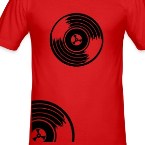 Red Viertel Schallplatte / quarter vinyl records (2c) Men's T-Shirts - Men's Slim Fit T-Shirt