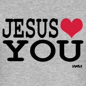 Gris chiné jesus loves you T-shirts - Tee shirt près du corps Homme