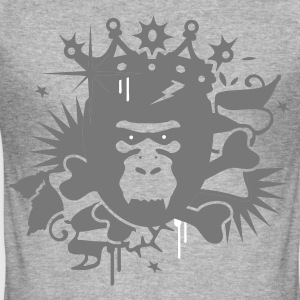 Heather grey King Kong - gorilla with a crown Men's T-Shirts - Men's Slim Fit T-Shirt