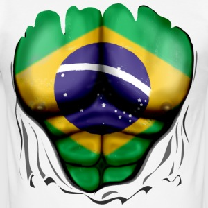 Brazil Flag Ripped Muscles, six pack, chest t-shir - Men's Slim Fit T-Shirt