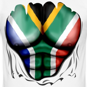South Africa Flag Ripped Muscles, six pack, chest  - Men's Slim Fit T-Shirt