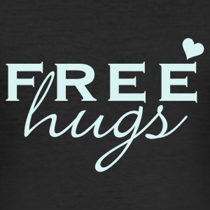 Sort gratis knus / free hugs (1c) T-shirts - Herre Slim Fit T-Shirt