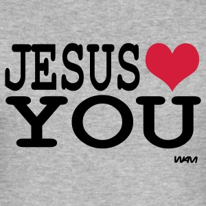 Gris salpicado jesus loves you Camisetas - Camiseta ajustada hombre