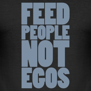 Nero feed people not egos T-shirt - Maglietta aderente da uomo