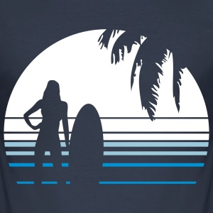 BEACH SURFING GIRL PALME T-Shirts - Männer Slim Fit T-Shirt