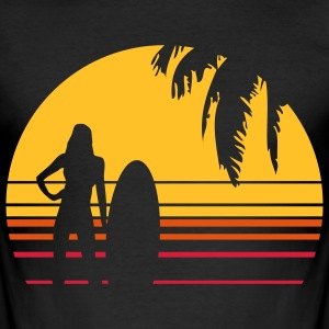 BEACH SURFING GIRL PALME T-shirts - Herre Slim Fit T-Shirt