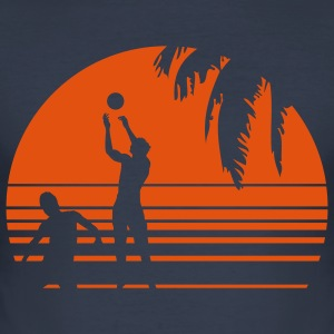 BEACH VOLLEYBALL SUNSET PALME 1C Camisetas - Camiseta ajustada hombre