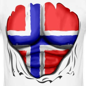 Norge Flagg Ripped Muskler - Slim Fit T-shirt herr