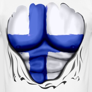 Finland Flag Ripped Muscles six pack chest t-shirt - Men's Slim Fit T-Shirt