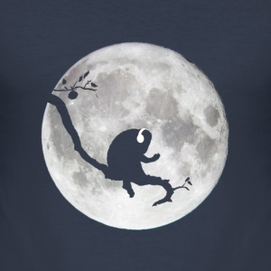 Ape on a Branch Chillin to some Tunes. Moon Silhouette. Dark Navy. - Men's Slim Fit T-Shirt