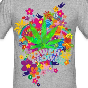 POWER FLOWER- Hanf | Männershirt slim fit - Männer Slim Fit T-Shirt