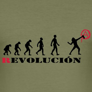 r-evolution, evolution, revolution, street art, anarchy T-Shirts - Men's Slim Fit T-Shirt