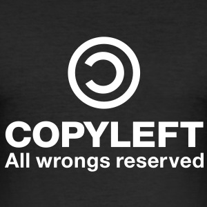 Copyleft All wrongs reserved T-Shirts - Men's Slim Fit T-Shirt