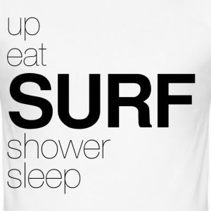 Shower Sleep Surf Black T-Shirts - Men's Slim Fit T-Shirt