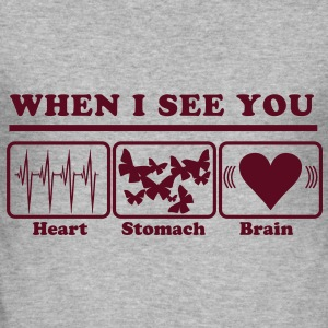 When I see you - Heart/Stomach/Brain = Chaos T-Shirts - Men's Slim Fit T-Shirt
