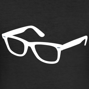 Brille (+Silber Detail Fexdruck) T-Shirts - Männer Slim Fit T-Shirt